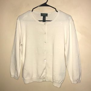 Lauren Women's Button Down Ivory Sweater Large.